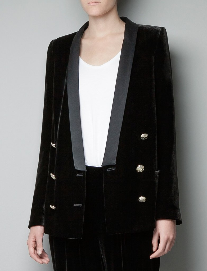 We love this Zara Velvet Blazer ($189) on its own, but even more with  . . .