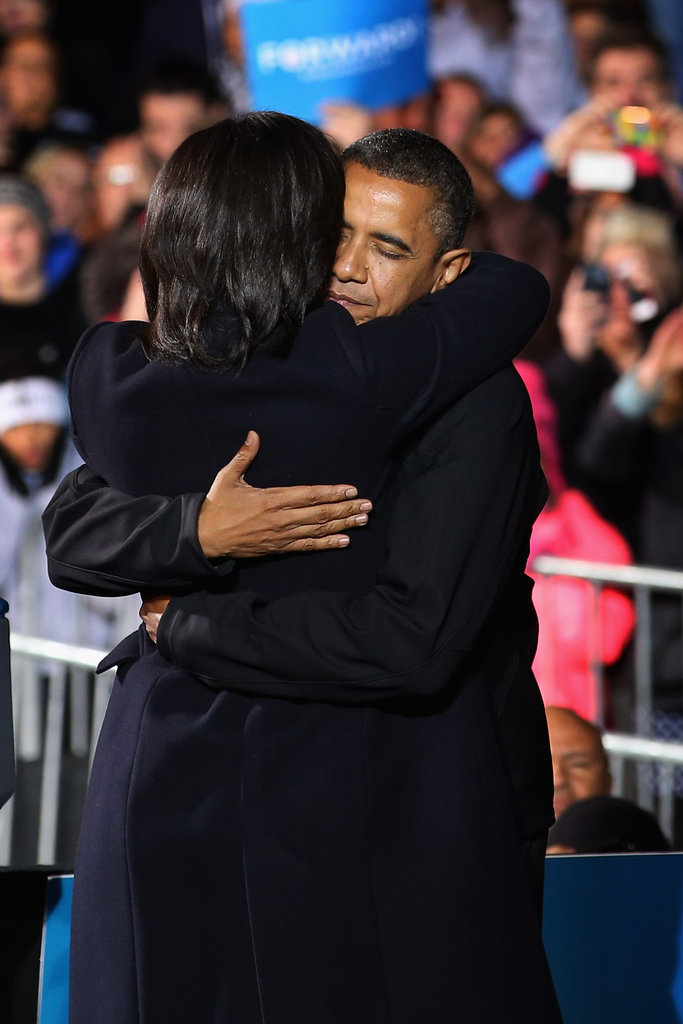 The Obamas shared a hug after a successful speech.