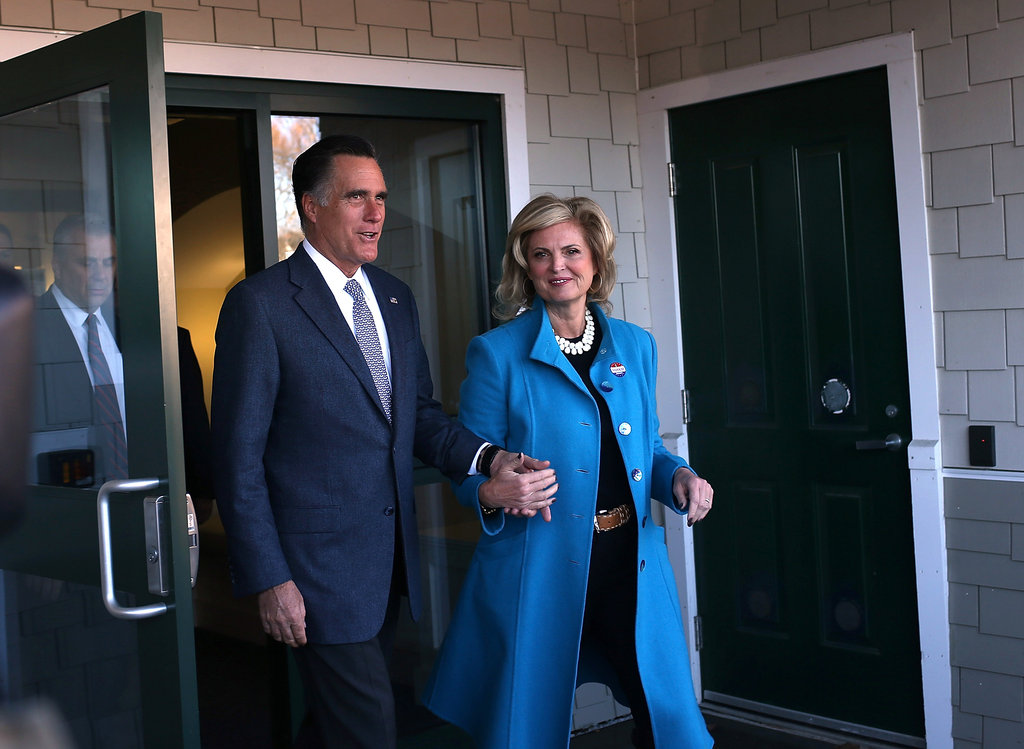 Ann stayed by Mitt's side after casting their ballots in Belmont, MA.