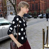 Taylor Swift Wearing Polka-Dot Sweater