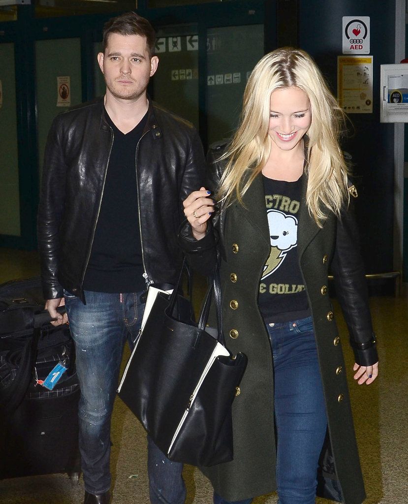 Michael Bublé and Luisana Lopilato Arrive Side by Side in Rome