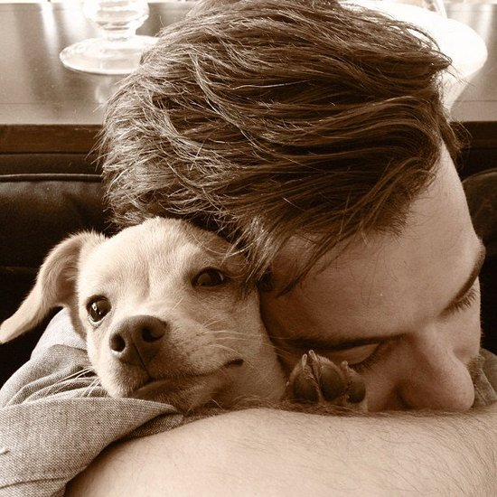 Lauren Conrad's boyfriend, William Tell, snuggled with her newest addition, Fitz. Source: Instagram user laurenconrad