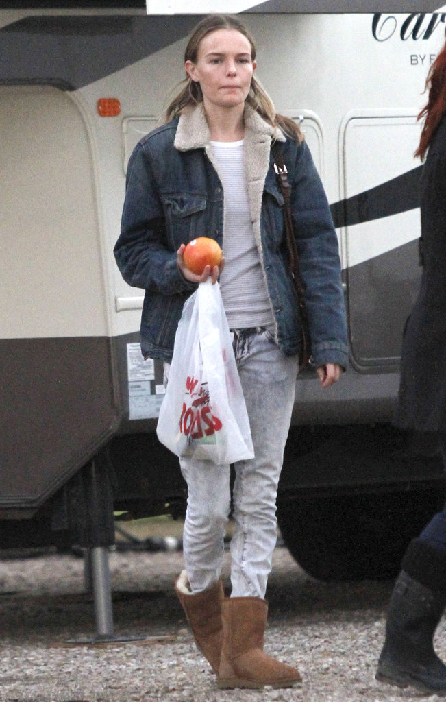 Kate Bosworth snacked on fresh fruit during a break from filming.