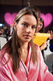 Alessandra Ambrosio sported a pink robe as she prepped for the show.