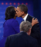 At the first debate, which was also the Obamas' 20th wedding anniversary, the president planted a kiss on Michelle.