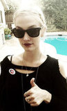 Ashlee Simpson wore a dark and moody ensemble when she voted. Source: Twitter user ashleesimpson