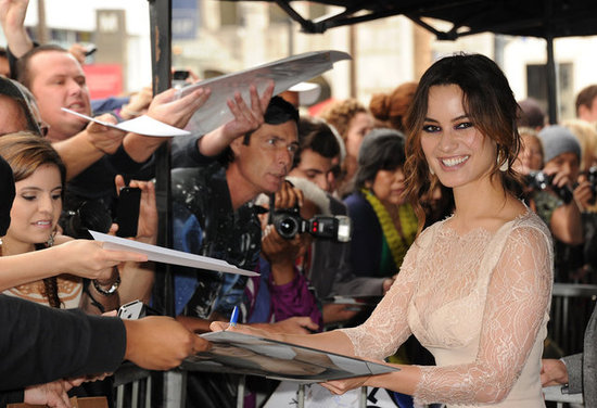 Bérénice Marlohe signed autographs for fans.