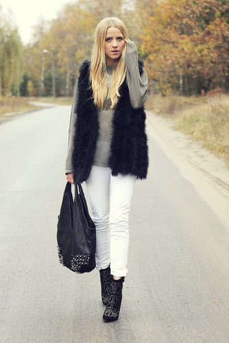 White pants look totally seasonal with a touch of fur and a pair of studded ankle boots. Source: Lookbook.nu