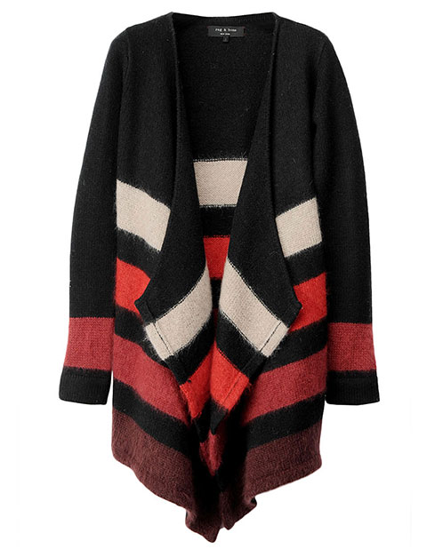 One of my favorite runway collections for Fall was Rag and Bone because of the cozy layering; hence,  on my wish list is their amazing mohair and wool wrap sweater ($450). It could be the best thing to happen to me since cashmere blankets. — Noria Morales, style director