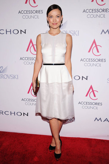Olivia Wilde wore a fresh white Calvin Klein dress to the ACE Awards in New York.