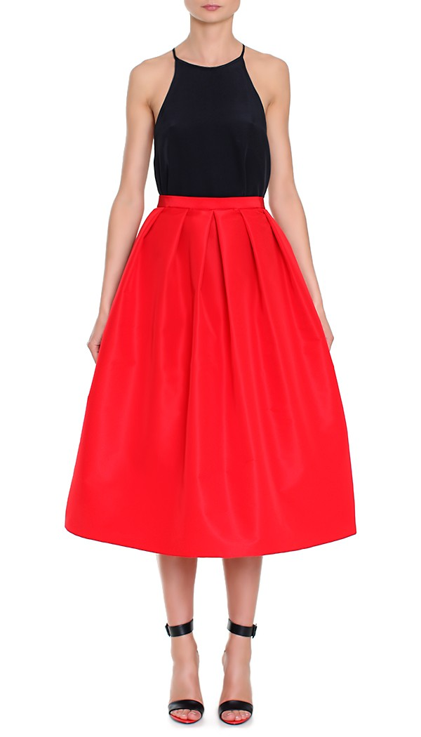 I'm not one to wear red but this stunning, gorgeous skirt had me at hello. How perfectly festive is this Tibi silk faille skirt ($525) for the holidays?  — Chi Diem Chau, associate editor