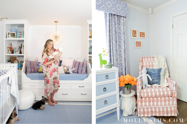 Molly says she loves her corner of the room, which includes a comfy glider and her favorite side table. Source: MollySims.com