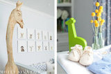"Animals, in particular giraffes, are a common theme in the nursery. Molly's interior decorator said, ""My friend Sharon Montrose, a well known photographer, did the animal prints and I made the mobile which I was just thinking I should make more of for the shop.""  Source: MollySims.com"