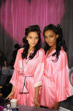 Shanina Shaik and Jasmine Tookes posed backstage.