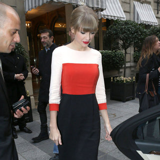 Taylor Swift Wearing Red, White, and Black Dress
