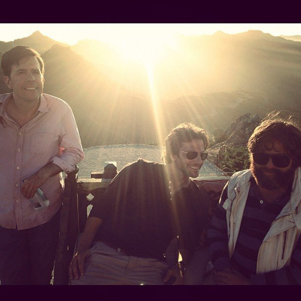 Ed Helms, Bradley Cooper and Zach Galifianakis goofed around on the set of The Hangover Part III. Source: Instagram user toddphillips1