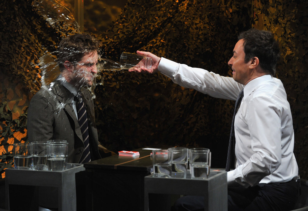 Jimmy Fallon threw water on Robert Pattinson as part of a game on Late Night With Jimmy Fallon.