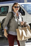 Jennifer Garner wore a gray sweater with burgundy pants to travel to New Orleans.