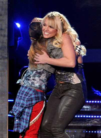 Britney Spears hugged a contestant on stage while filming The X Factor in LA.