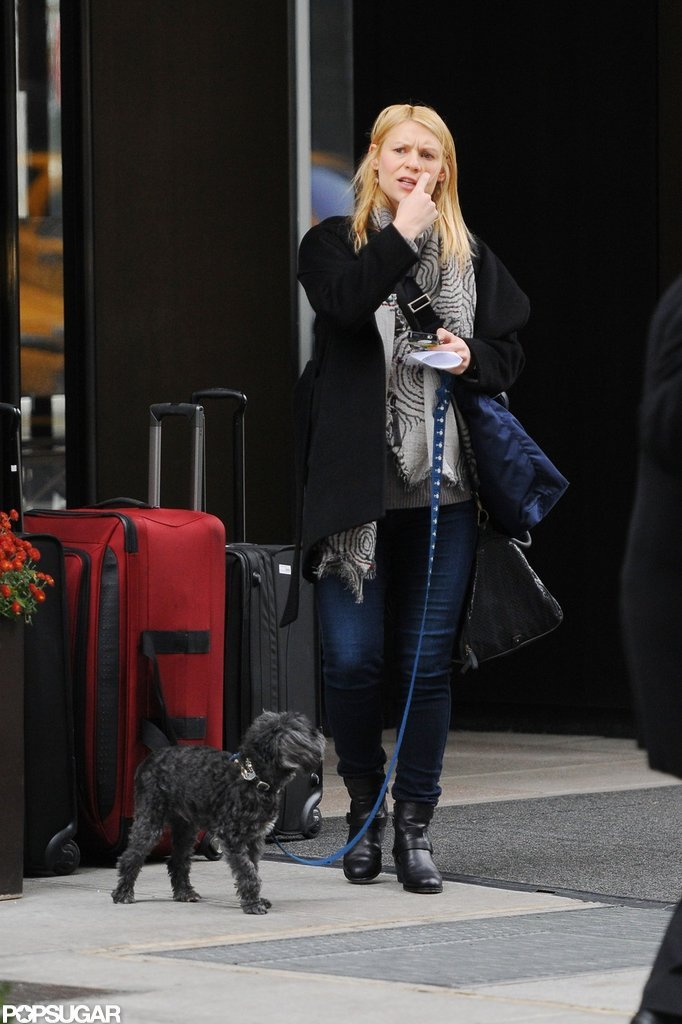 Claire Danes stepped out to walk her dog in NYC.