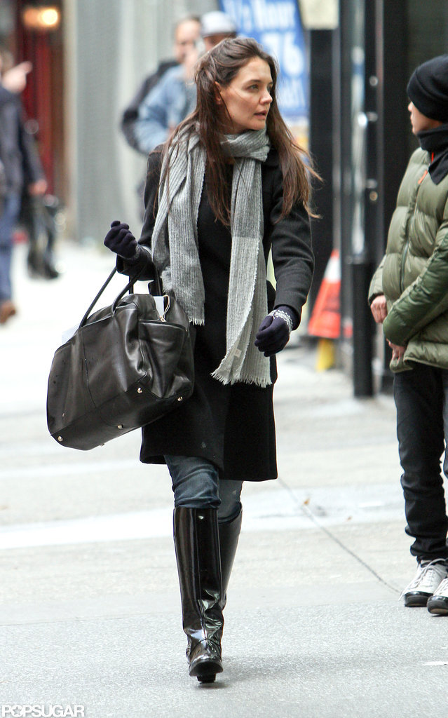 Katie Holmes stepped out carrying a black bag in NYC.