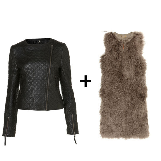 We love the idea of pairing a quilted leather jacket with a longer shearling vest for a fun play on textures.  Topshop Leather Quilted Vest ($360) Tory Burch Shearling Vest ($798, originally $1,995)