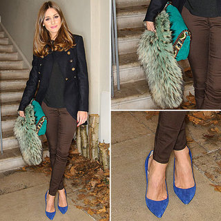 Olivia Palermo Wearing Blue Pumps