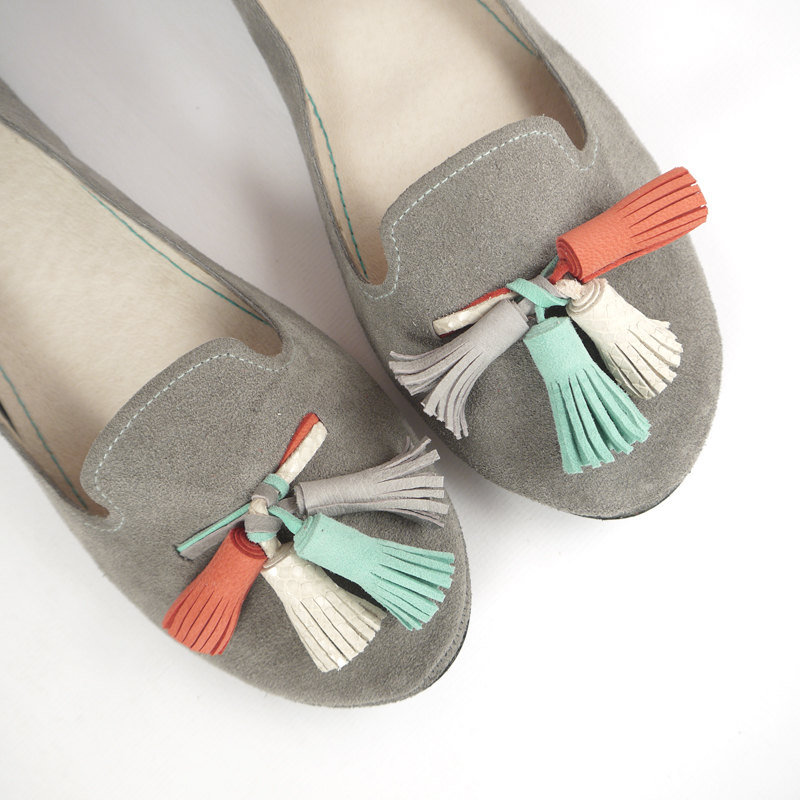 I am positively smitten with these gray suede loafers ($168). Just look at those tassels —too cute! — Tara Block, assistant editor