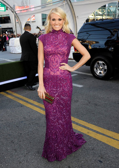 Carrie Underwood wore a gown to the American Music Awards.