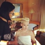 Pink got ready for the show with the help of her glam squad. Source: Instagram user pink