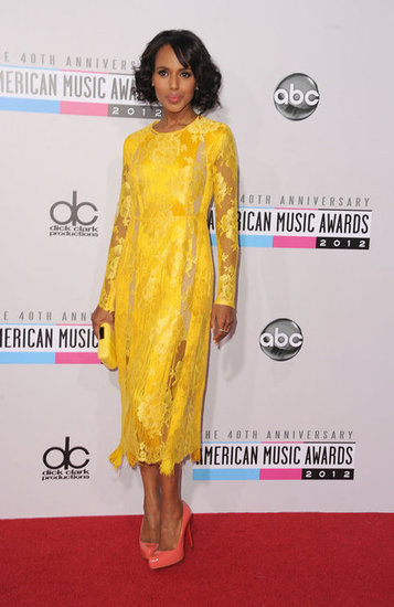 Kerry Washington wore a yellow lace dress to the American Music Awards.
