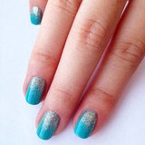 DIY Tiffany Blue and Glitter Ombre Nail Art