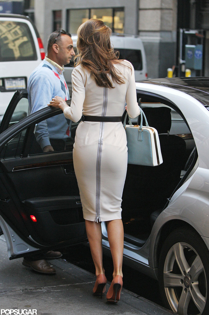 Miranda Kerr wore a white dress while out in NYC.