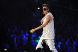 Justin Bieber wore an all-white ensemble on stage in Boston.