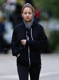 Nicole Richie pulled her hood on to stay warm.
