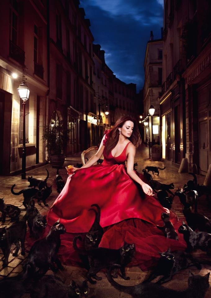 Penélope Cruz wore a red Zac Posen gown and crossed the street with black cats.