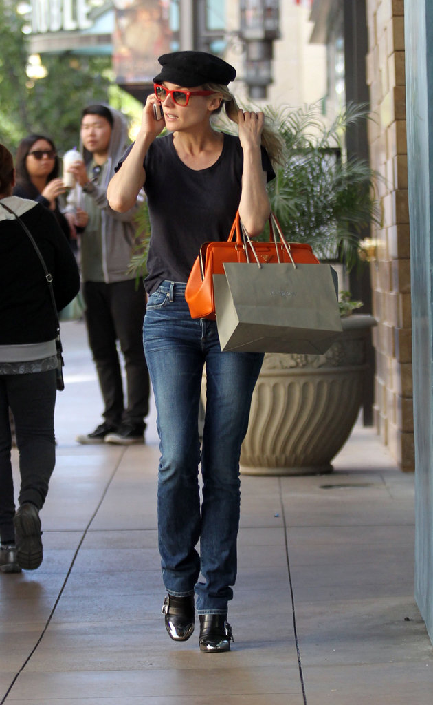 Diane Kruger carried an orange bag while out shopping in LA.