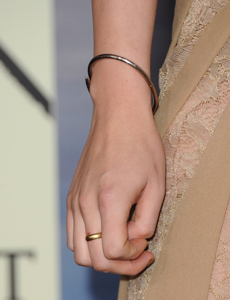 Fact: Kristen hasn't parted ways with her favourite Cartier Juste un Clou bracelet at any of her Breaking Dawn Part 2 promo stops. It's her go-to silver statement piece.