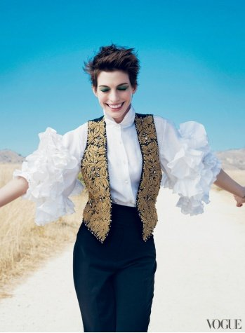 Anne Hathaway Stunning in Green Eyeshadow for Vogue
