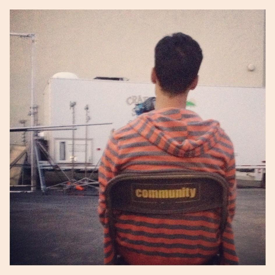 Danny Pudi sat idly on the set of Community. Source: Twitter user dannypudi