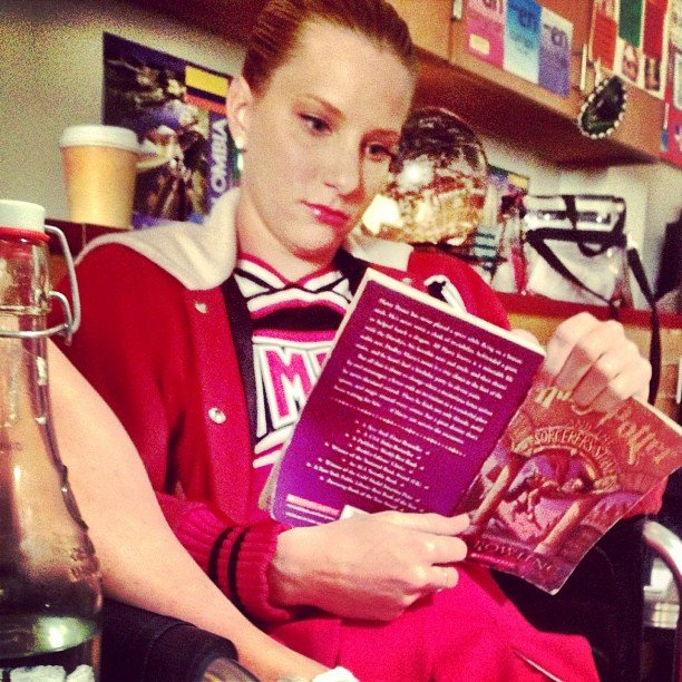 Heather Morris caught up on some light reading on the set of Glee. Source: Instagram user kevinmchale