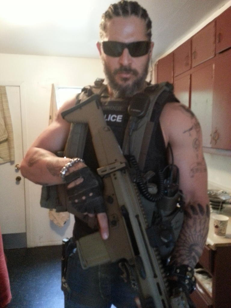 Joe Manganiello took on a whole new look for his latest action-movie role. Source: Twitter user joemanganiello