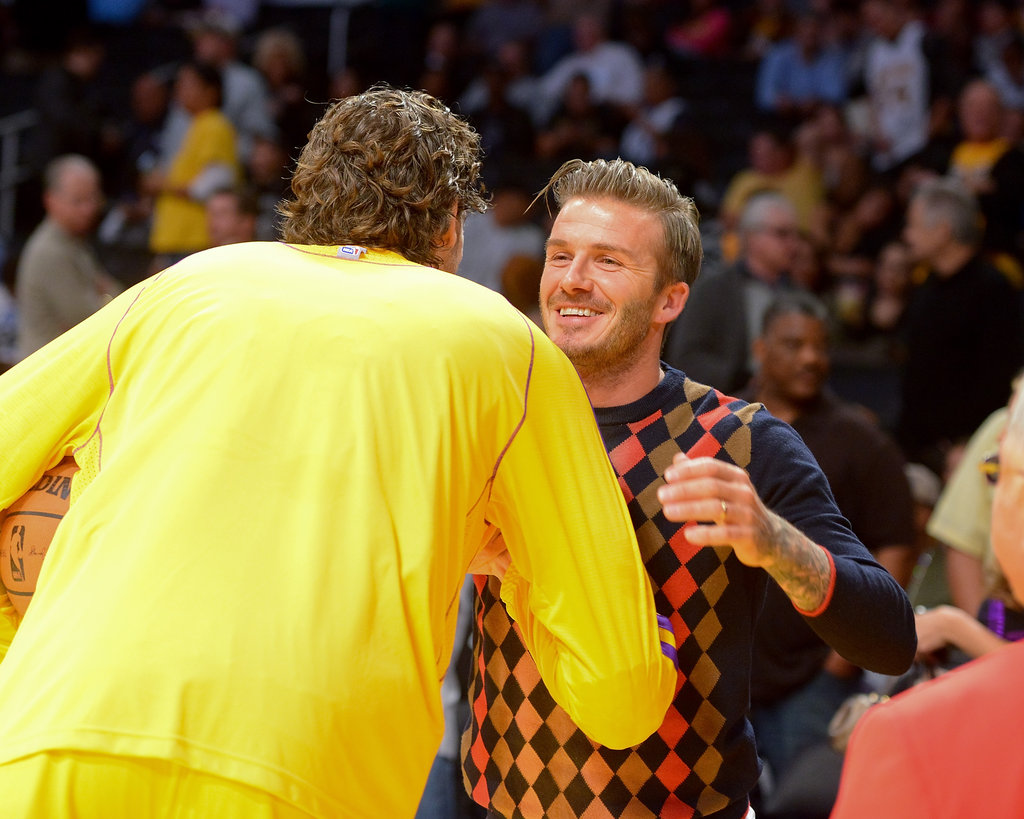 David Beckham and Pau Gasol had a friendly exchange.