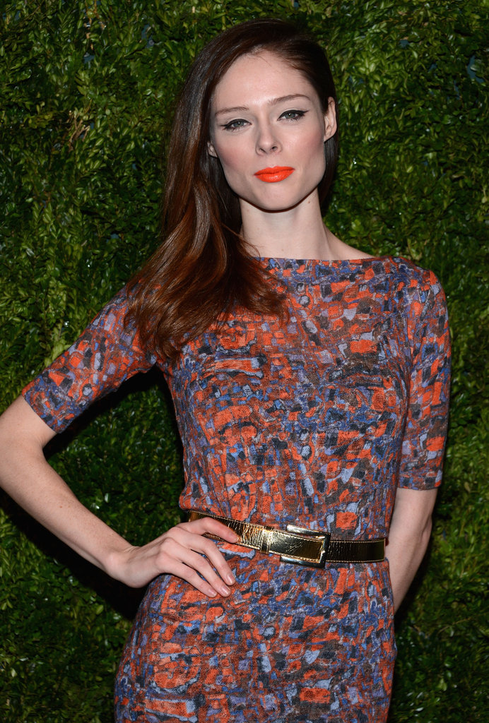 Coco Rochas wore a printed dress to attend the NYC awards.