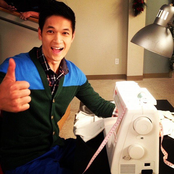 Harry Shum Jr. gave a thumbs-up from his seat at the sewing machine. Source: Instagram user chordover