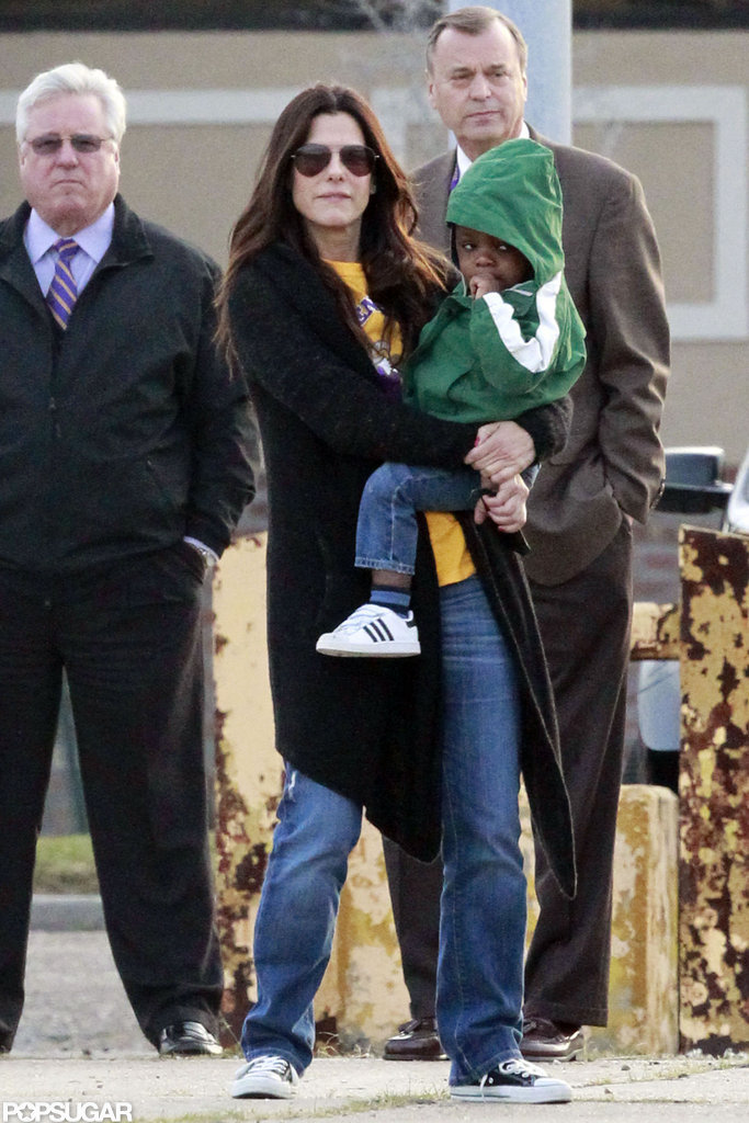 Sandra Bullock spent time with Louis Bullock outside in New Orleans.