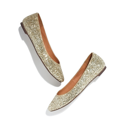 Update your everyday flat with these Madewell Glitter Skimmers ($118) — then take them out with a pair of cropped trousers and a jeweled peplum top for party time.