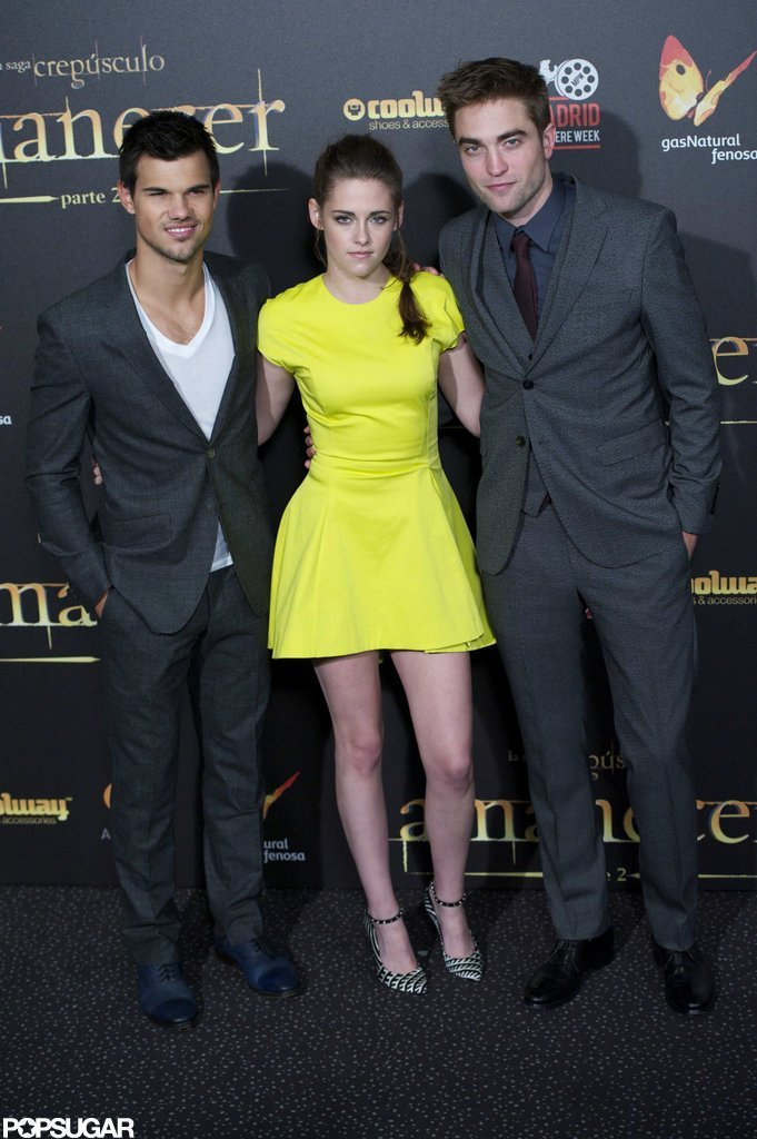 Taylor Lautner, Kristen Stewart, and Robert Pattinson stepped out for the Madrid premiere of Breaking Dawn Part 2.