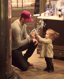 David and Harper Beckham played with bubbles in LA in November.