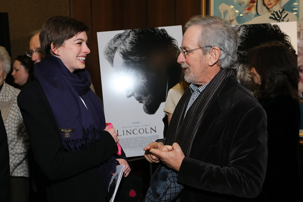 Anne Hathaway chatted with Steven Spielberg at a screening of Lincoln in NYC.